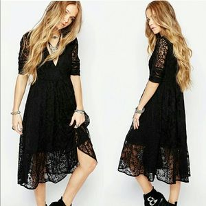 NWT Free People Mountain Laurel Lace Dress Black